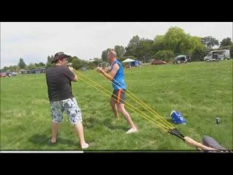 Epic Fail - Powerful water balloon CATAPULT denting a car - Fairford Riat