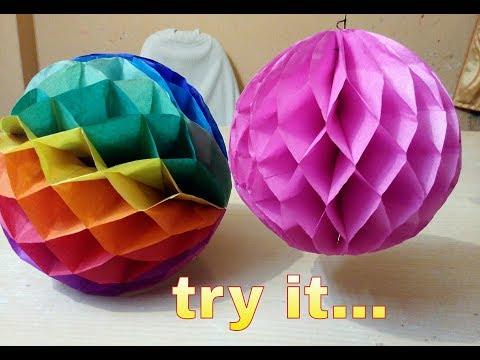 DIY - Hanging Puffy Flower Ball - Paper craft - Handmade