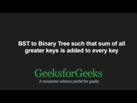 Convert a BST to a Binary Tree so that sum of greater keys is added to every key | GeeksforGeeks