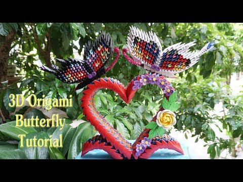 3D Origami Butterfly On Heart Stand Tutorial | DIY Paper Butterfly On Heart Stand Home Decoration