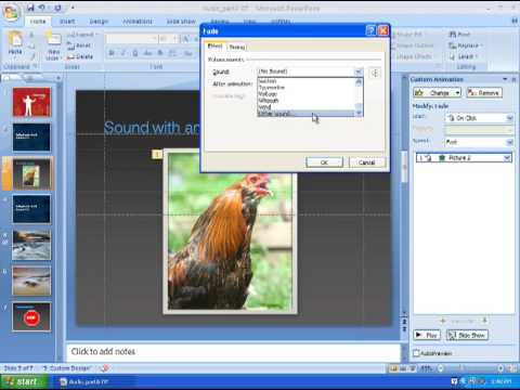 Adding Sound Part A: Powerpoint 2007