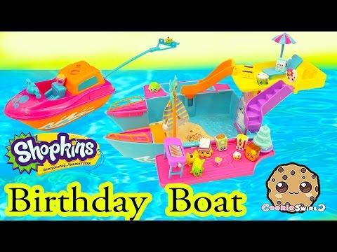 Shopkins Season 2 Birthday Party Boat with Pool + Water Ski Fun - Cookieswirlc Play Video