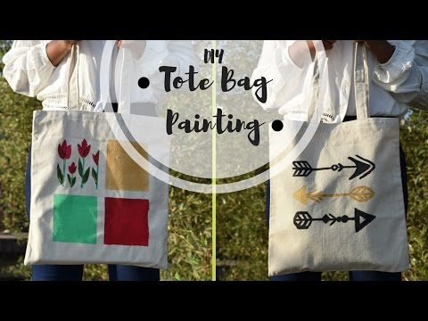 DIY Tote bag painting   Canvas tote bag painting tutorial