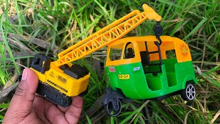 Looking for Toy Vehicles in the Bushes | Indian Auto Rickshaw, Crane Truck, Police Car and Others