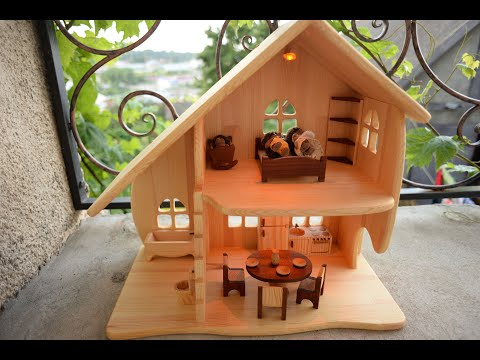 Small Wooden dollhouse with furniture. illuminated dollhouse. Montessori waldorf toys. wooden toy