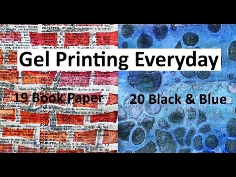 Gel Printing Book Paper and Using Black & Blue #31daysofgelloprinting