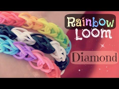 RAINBOW LOOM : Diamond Bracelet - How To - One Loom | SoCraftastic