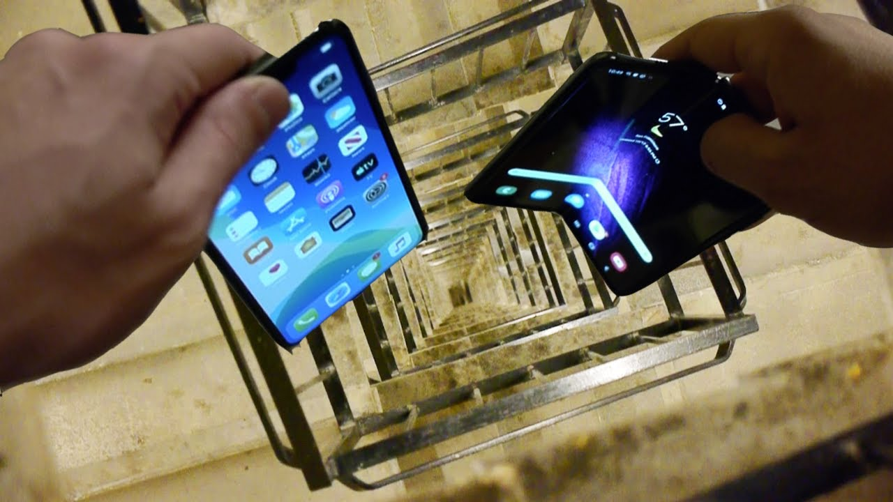Dropping Samsung Galaxy Fold vs iPhone 11 Pro Max vs Nokia 3310 Down Spiral Staircase - 20 Stories