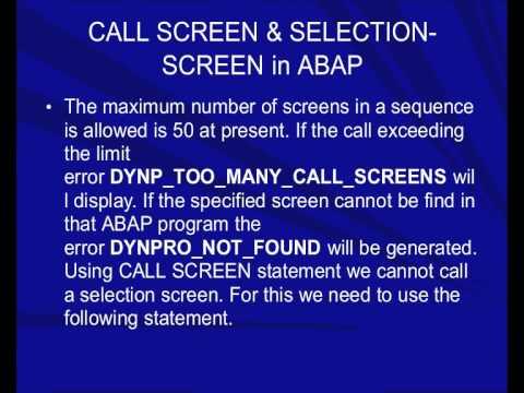 CALL SCREEN & SELECTION-SCREEN in ABAP