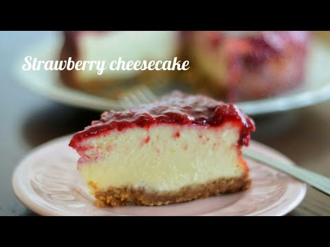 Easy Way To Make Baked Strawberry Cheesecake (with greek yoghurt!)