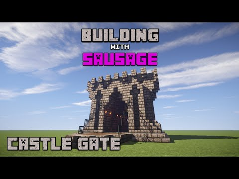 Minecraft - Building with Sausage - Castle Gate!!!