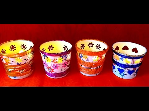 Diy How to make Easy Festive Paper Cup Votives / Tealight Holder in 5 minutes