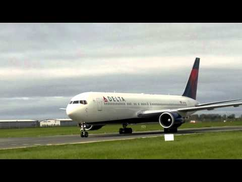 Delta Airlines 767 N177DZ landing and close taxi at Dublin airport, Ireland