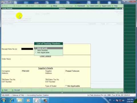 Tally.erp 9 in hind how to add zero value entry