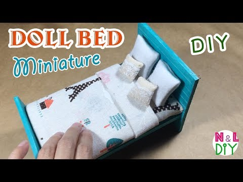 DIY Miniature Doll Bed | How to make Doll Bed