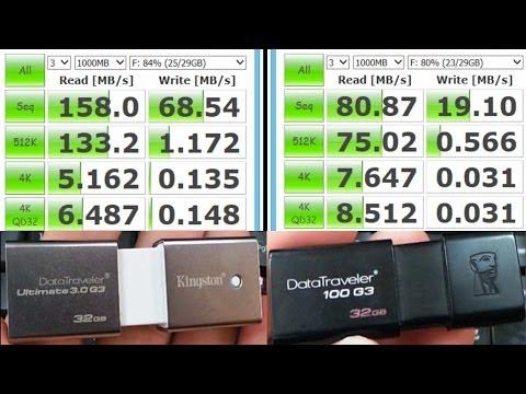 Kingston DataTraveler Ultimate 3.0 G3 vs 100 G3: Speed Test (USB 3.0)