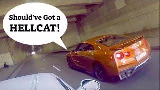 Nissan GTR teaches Challenger RT a valuable lesson!