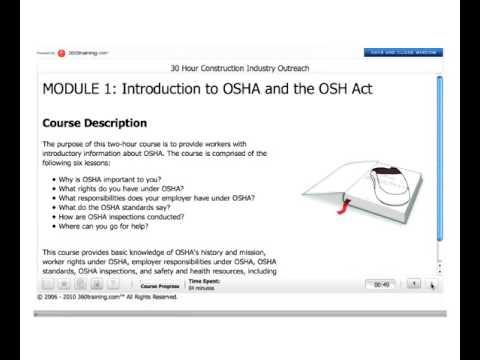 OSHA 30 Hour Training Information