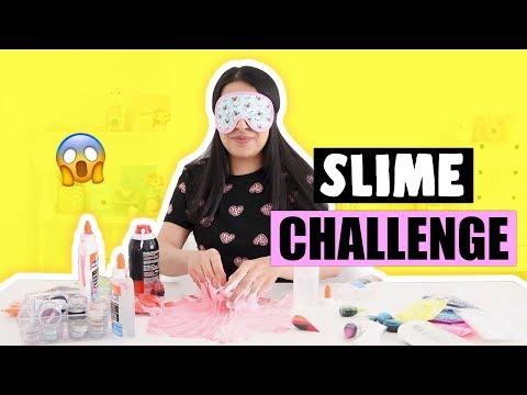 EXTREME SLIME CHALLENGE?! *making no bowl slime blindfolded*