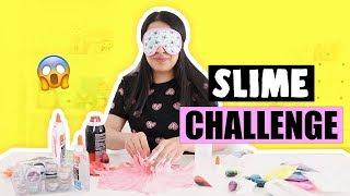 EXTREME SLIME CHALLENGE?! *making no bowl slime blindfolded*