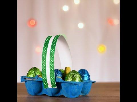 Make an easy egg carton Easter basket