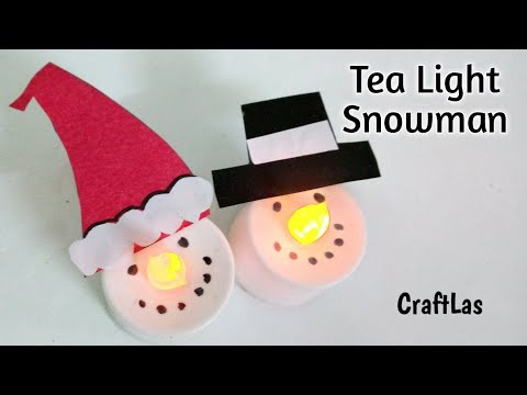 DIY Tea Light Snowman For Christmas Decorations | How To | CraftLas