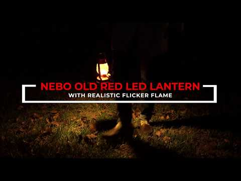 Old Red LED Lantern With Flickering Flame