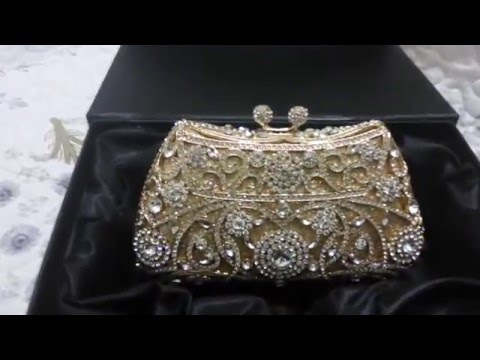 Handmade Crystal Clutch Bag for Women China Designer Handbags with Gold Chain Rhinestone Purse