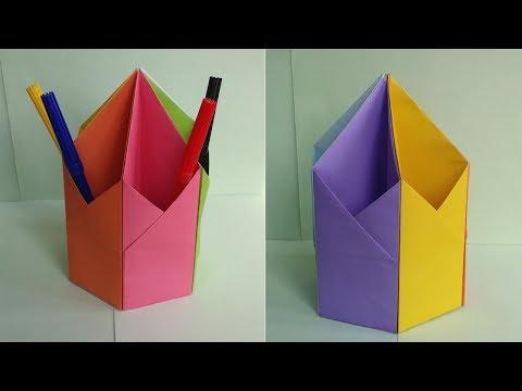 DIY: Pen & Pencil Holder !!! How to Make Origami Hexagonal Pen / Pencil Holder !!!