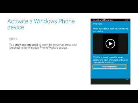 Activate a Windows Phone device