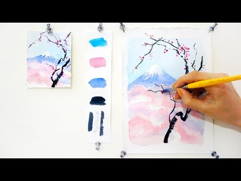 Cherry Blossom and Mount Fuji.  Step by step watercolor tutorial