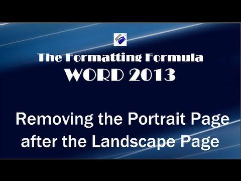 Word 2013   Removing Portrait Page after Landscape Page