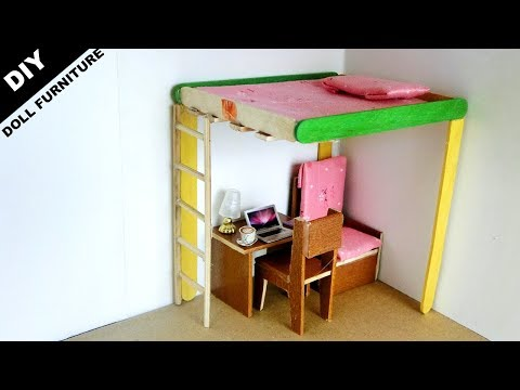 DIY Miniature Doll Bed and Desk #9 | Popsicle stick Crafts ideas