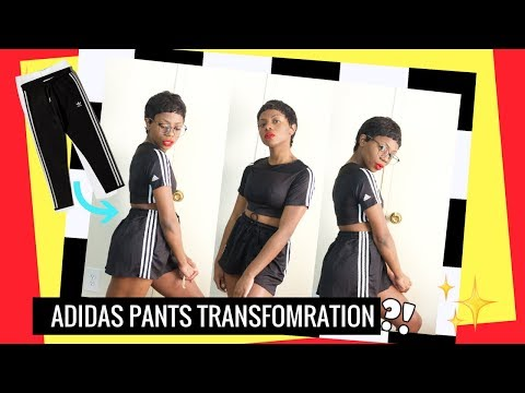 HOW I TURNED ADIDAS PANTS INTO A SHIRT AND SKIRT! | THRIFTED TRANSFORMATIONS