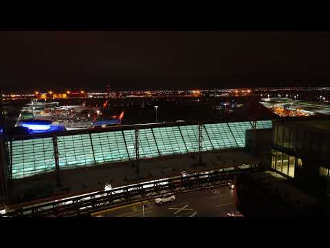Night, Timelapse, Toronto Pearon International Airport from Sheraton Gateway East   Timelapse