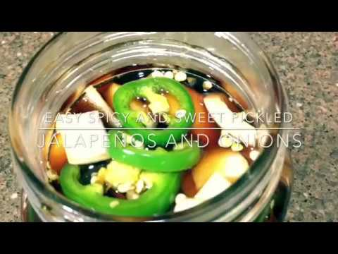 Easy spicy and sweet  pickled jalapeño and onions!   Perfect with Korean barbecue  dipping sauce