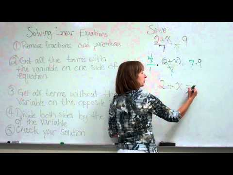 Solving a Linear Equation, example 2