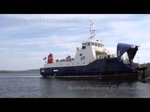 Timelapse of MV Bigga departing Gutcher, Yell Shetland