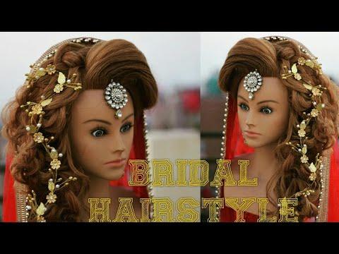 bridal hairstyle with puff messy braid | bridal hairstyle |  (chandra prakash patel)