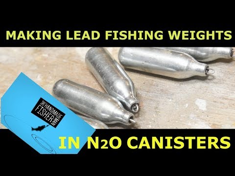 Making lead fishing weights with spent Nitrous Oxide canisters (laughing gas)