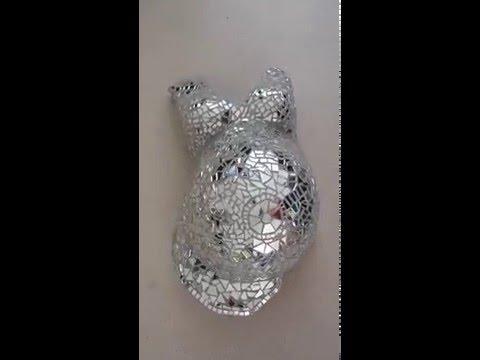 Gipsbuik met spiegelmoziek - Mirror mosaic belly cast