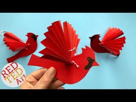 Paper Fan Bird Decoration - Paper Cardinal Ornament DIY - DIY Paper Christmas Ornaments