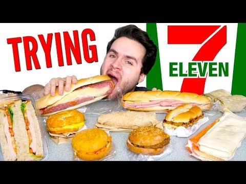 TRYING 7-ELEVEN FOOD PART 2! - Burgers, Burritos, Sandwiches, & MORE Taste Test!