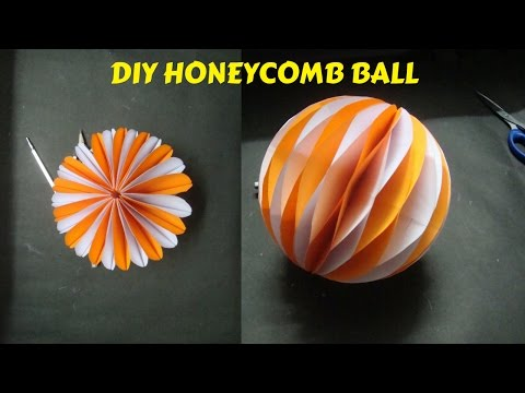 How To Make Honeycomb Ball. Paper craft ideas.bolas de nido de abeja para decorar.