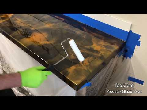DIY Epoxy Countertops Black and Orange Gold with Top Coat Tutorial