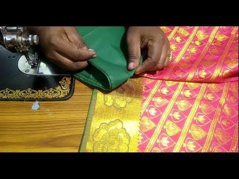 Invisible fall stitch in silk saree