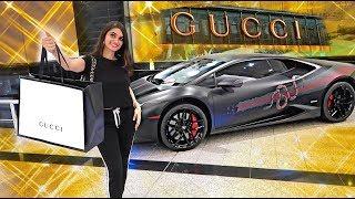 Gucci Shopping In A Gucci Lamborghini !!!