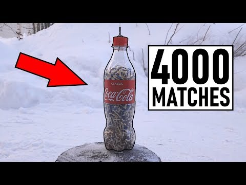 4000 matches in bottle (HUGE EXPLOSION)