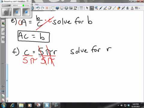 Algebra 3.6 Converting Fahrenheit to Celsius and Solving Equations