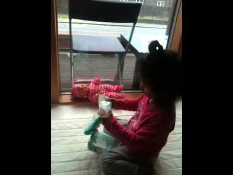 Aryaa changing baby nappies